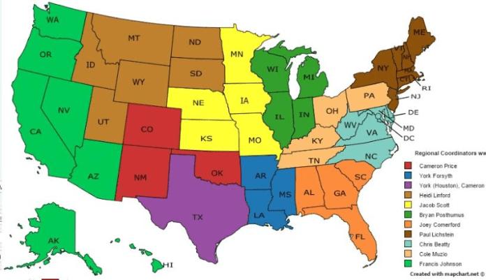 Regional Coordinators map