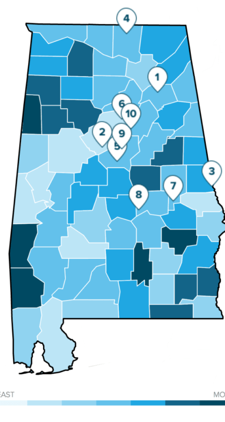Alabama Most Affordable Citites Map via SmartAsset
