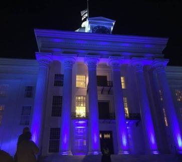 Alabama State Capitol blue