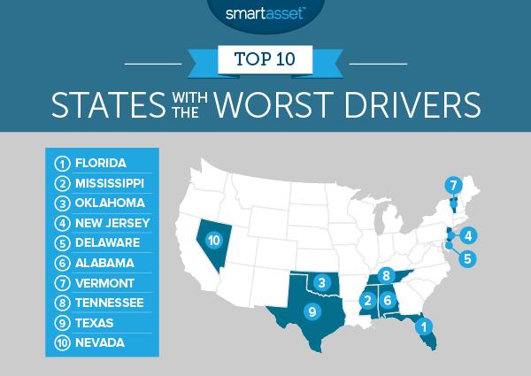SmartAsset 2016 Worst Drivers Map