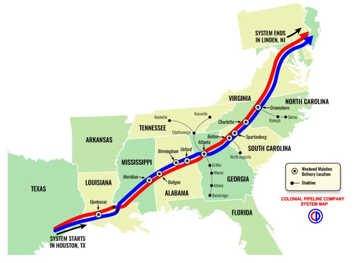 Colonial Pipeline Company System Map