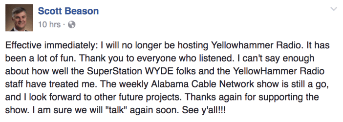 Beason leaving Yellowhammer Radio