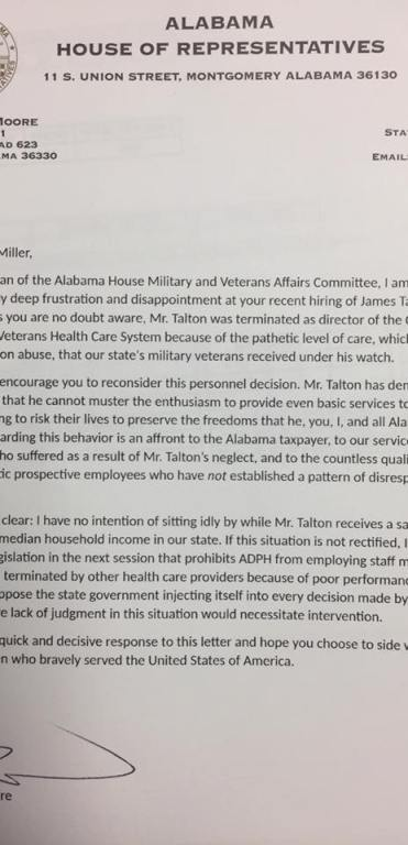 Barry Moore Talton letter