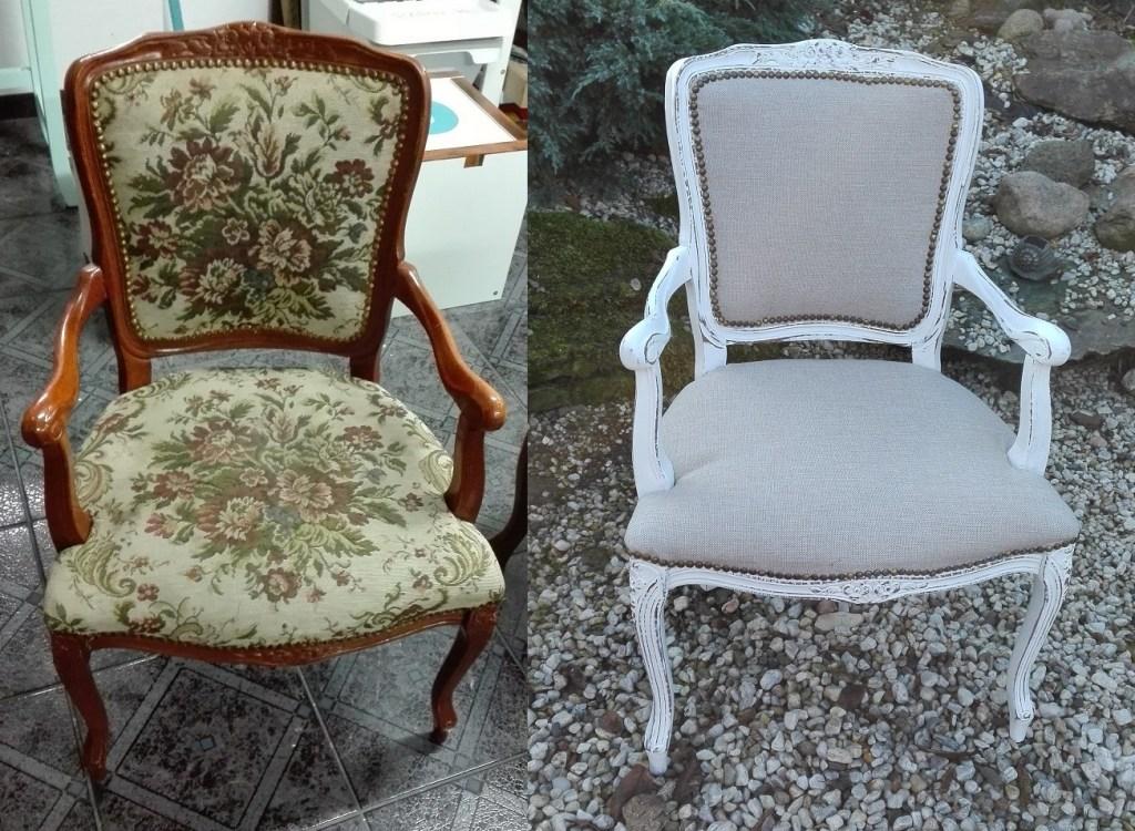 Metamorfoza krzesła stylowego z podłokietnikami