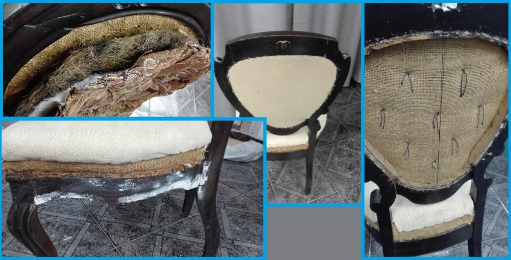 Renowacja starego krzesła typu medalion z pikowaniami