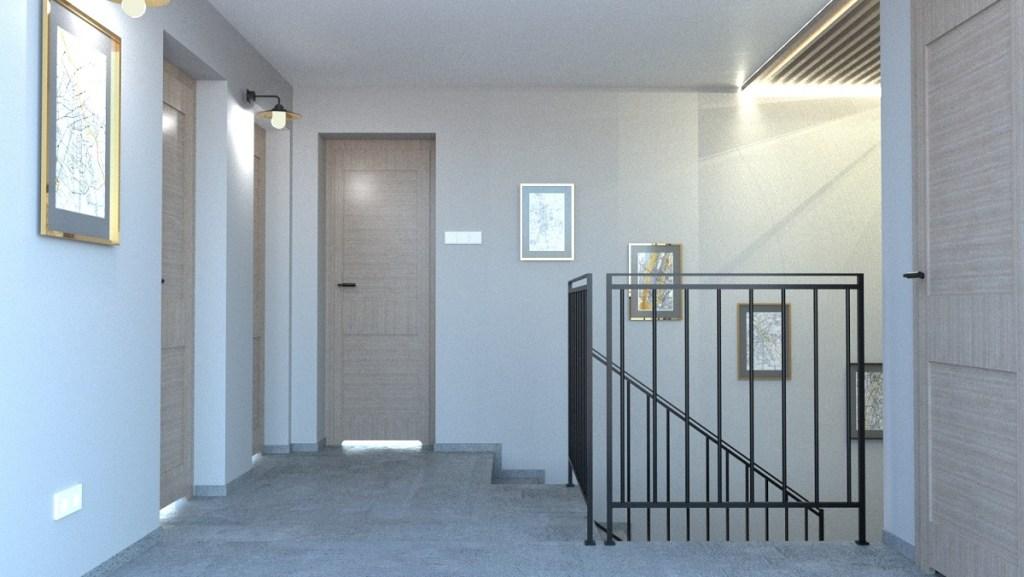 Klatka schodowa w domu jednorodzinnym projekt wizualizacja