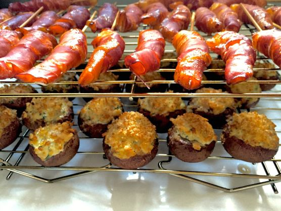 Proscuitto wrapped shrimp and smoked stuffed mushrooms