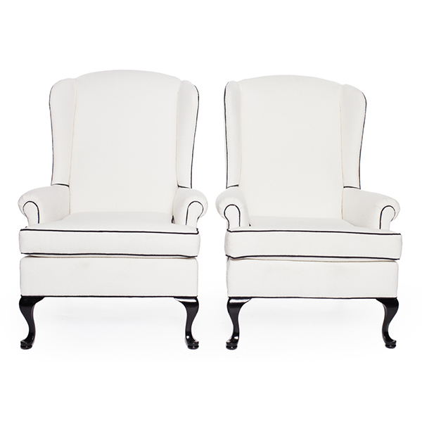 Chair White Wing Back A La Crate Rentals
