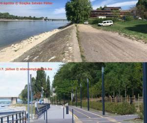 A Dagályhoz (Duna Arénához) sétáltunk a Duna partján és ezt láttuk