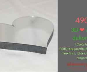 3d matrica -szív alakú-tükrös felületű- 10x11cm-490Ft