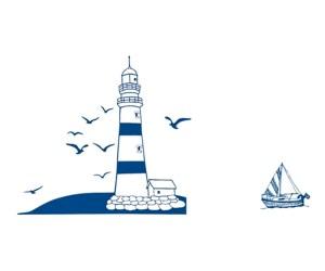 Hajó, világítótorony, vitorlás dekor matrica