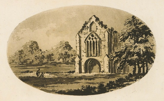 Image result for Tintern Abbey (1782), William Gilpin, Sketch.