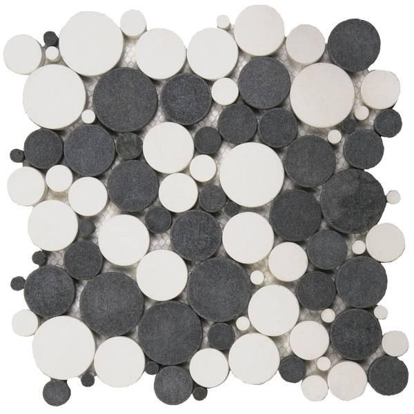 mix white black reconstituted round mosaic interlocking