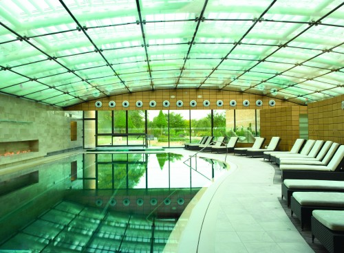 The 20 metre indoor pool at the spa, with the sauna and other rooms off to the right and the outdoor area straight ahead