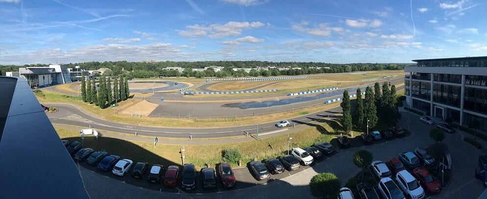 The view of the famous Brooklands motor-racing circuit from the Brooklands Hote