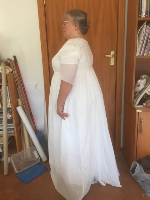 Side view of muslin gown