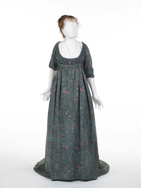 Teal gren block print gown from Museum of London