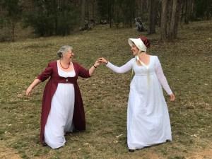 Lauren and Bron in Regency dresses