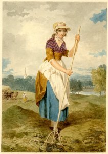 Painting of girl in a straw hat with white apron over her skirt, raking hay in a meadow