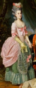 Portrait of Mary Wilkes wearing a pink polonaise gown over a green petticoat with a sheer white embroidered aprn