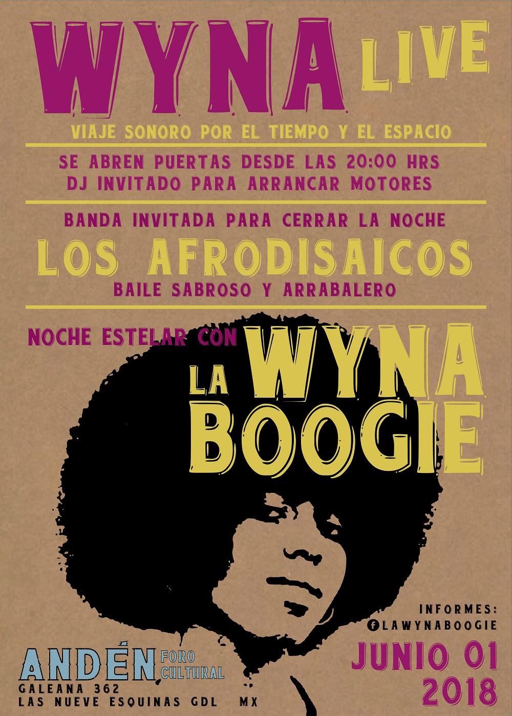 La Wyna Boogie / Andén Foro Cultural / 1de junio, 20:00 hrs