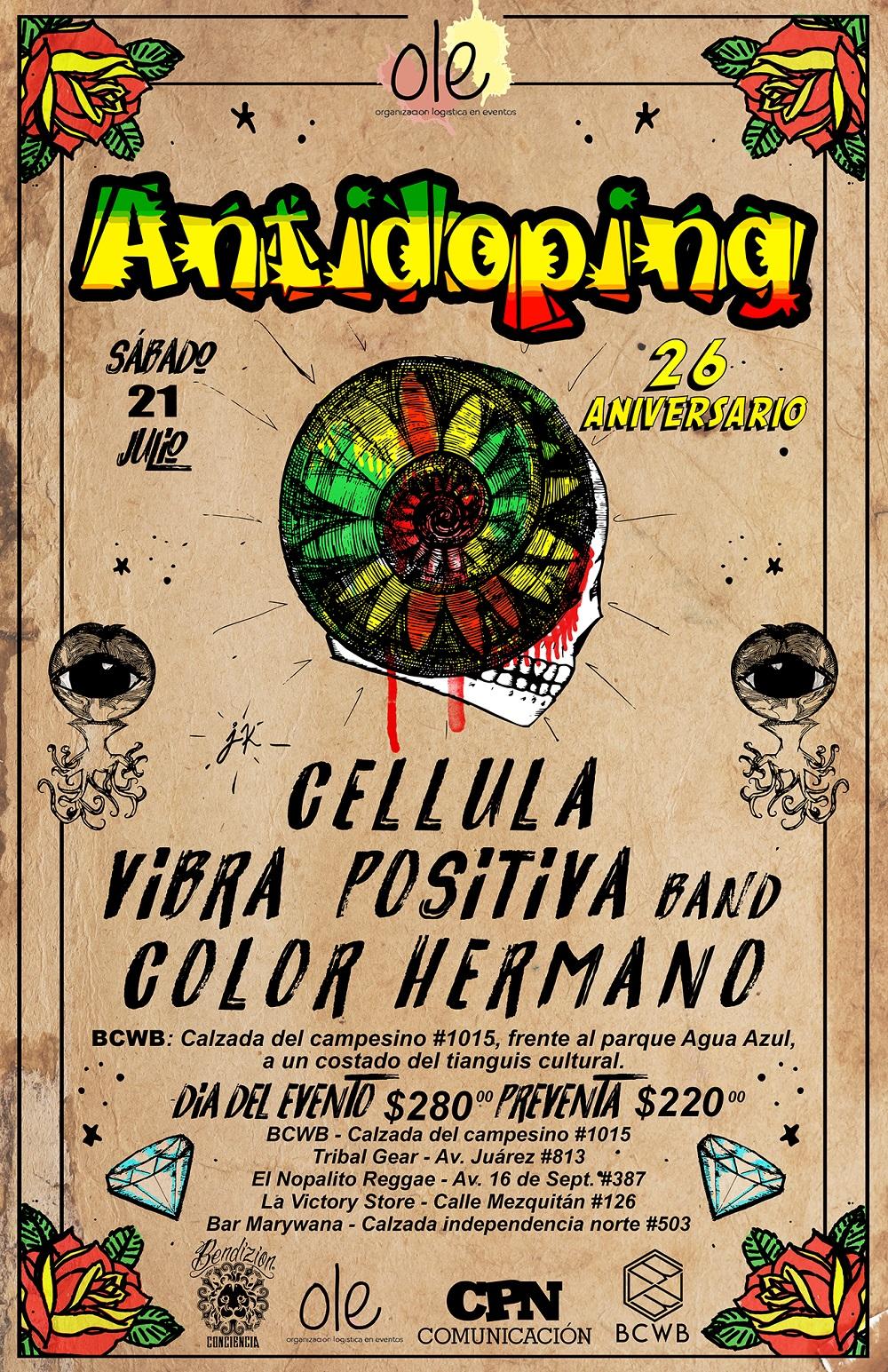 ANTIDOPING, 26 Aniversario en Guadalajara / Bodega Cultural Water Blue