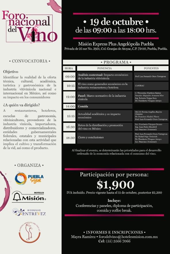 Hoteles Misión organiza el primer Foro Nacional de Vino en Puebla Capital