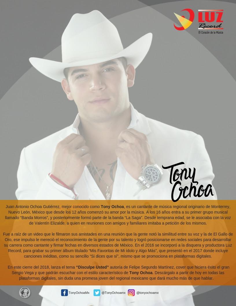 Luz Record presenta a Tony Ochoa – Disculpe Usted