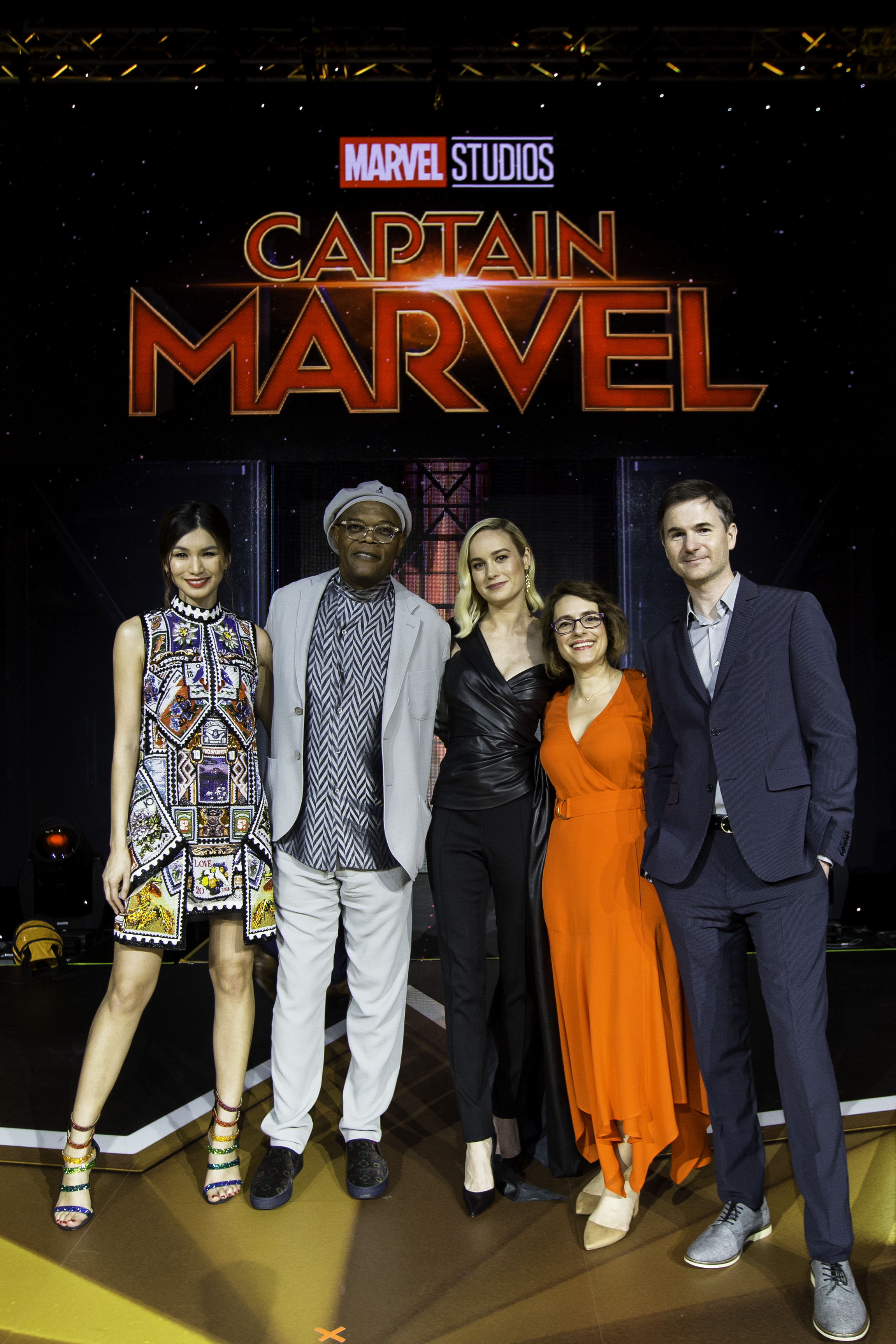 Capitana Marvel en su Fan Event y Conferencia de Prensa en Singapore.