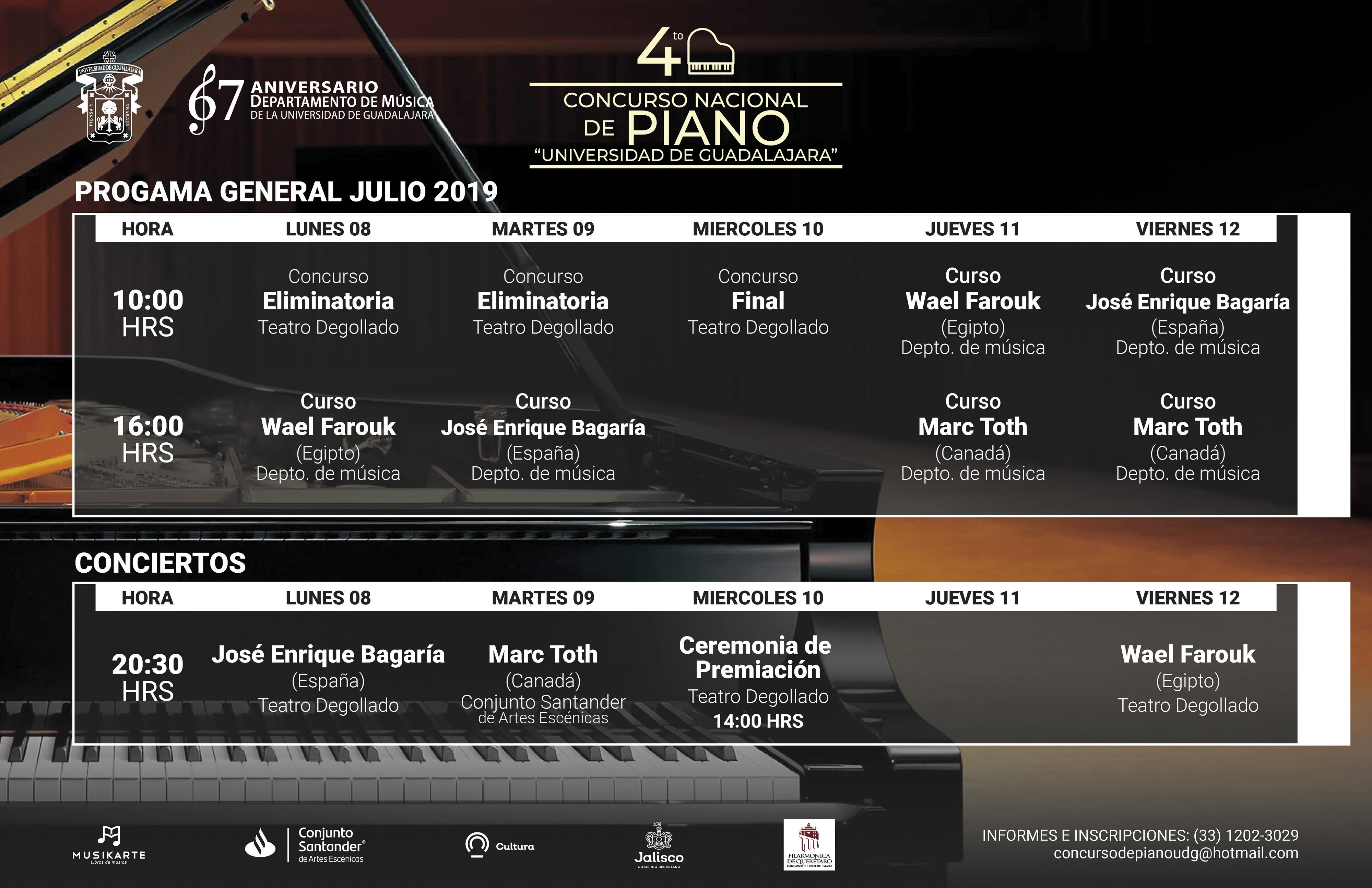 Llega la 4ta. edición del Concurso Nacional de piano de la UdeG