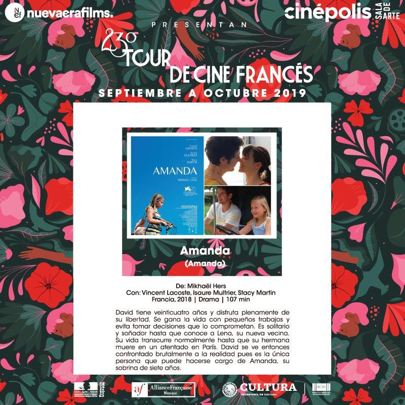 AMANDA 1er titulo, 23º Tour de Cine Francés