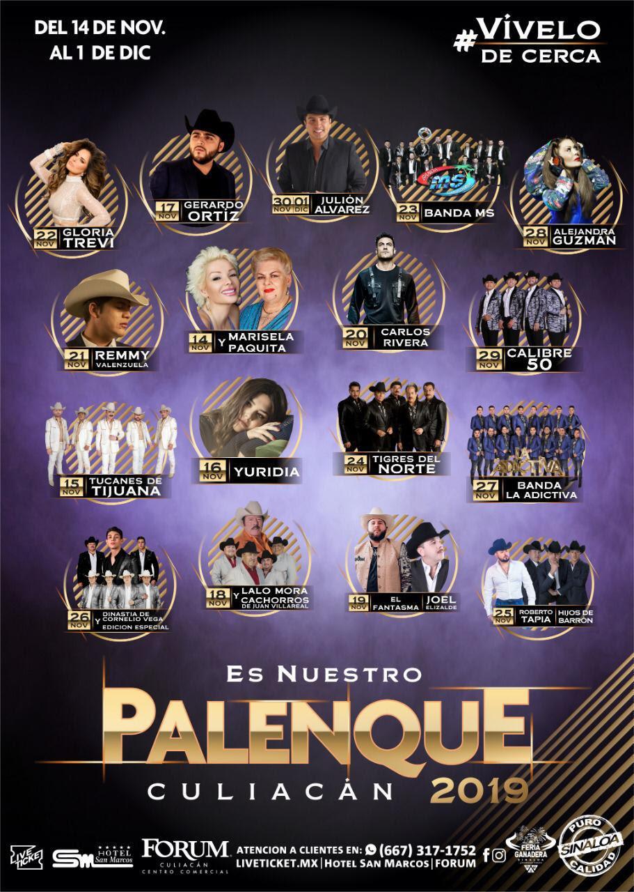 El Palenque de la Feria Ganadera de Culiacán, Sinaloa contará con un espectacular elenco en su edición 2019