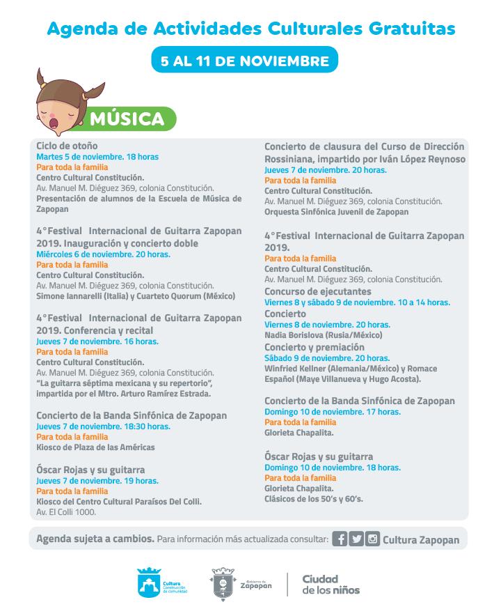 Agenda semanal de actividades en Zapopan