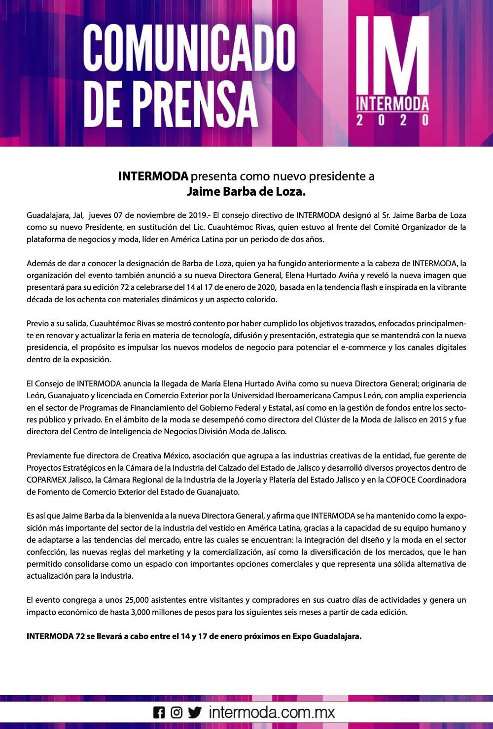 INTERMODA presenta como nuevo presidente a Jaime Barba de Loza