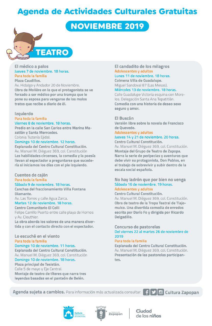 Agenda de actividades culturales de noviembre en Zapopan