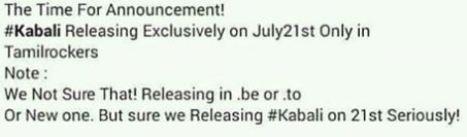 kabali movie leaked online