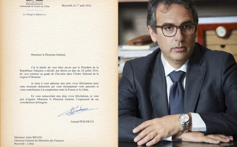 بون منح بيفاني وسام جوقة الشرف الفرنسي