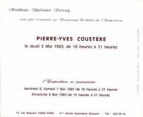 Expo P-Y Coustère chez Silvana Lorenz (1983), verso