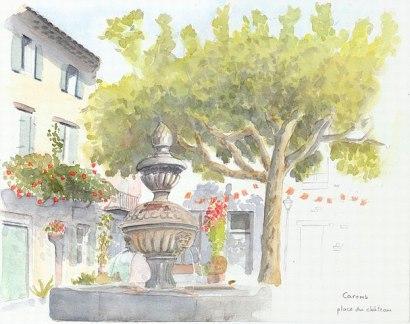 Caromb, place du château