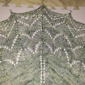 This is the Traveling Woman shawl knit in my Silent Benediction colorway. It's a pattern I love to create over and over! Want to create your own? Here's the pattern link: http://www.ravelry.com/patterns/library/traveling-woman