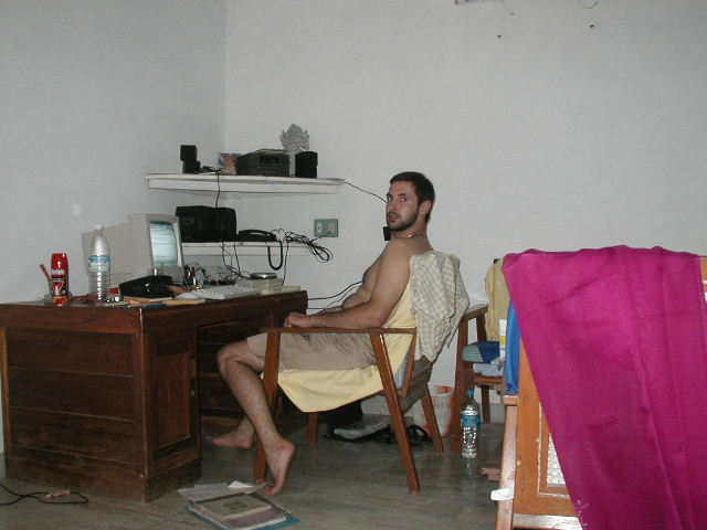 Olivier working at his desk in India