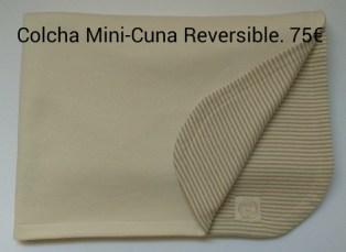 Colcha reversible. Mini-cuna. Tejido Felpa natural - Punto Inglés rayas. Personalizado. 75 euros.