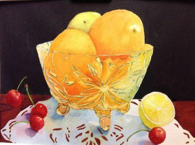 Oranges in Crystal Bowl