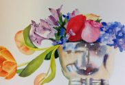 Flowers in Silver Bowl