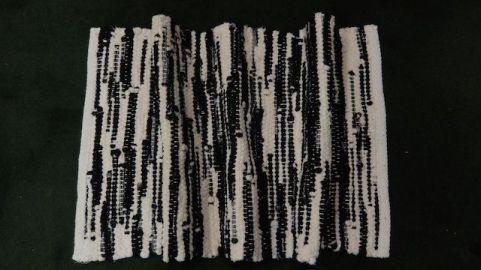 Black and White, handwoven cotton bath mat