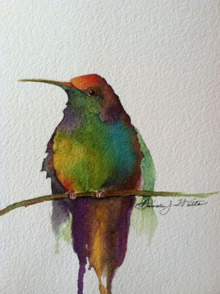 """Perched,"" watercolor"