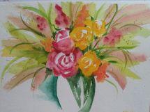 """Bouquet of Flowers,"" watercolor"