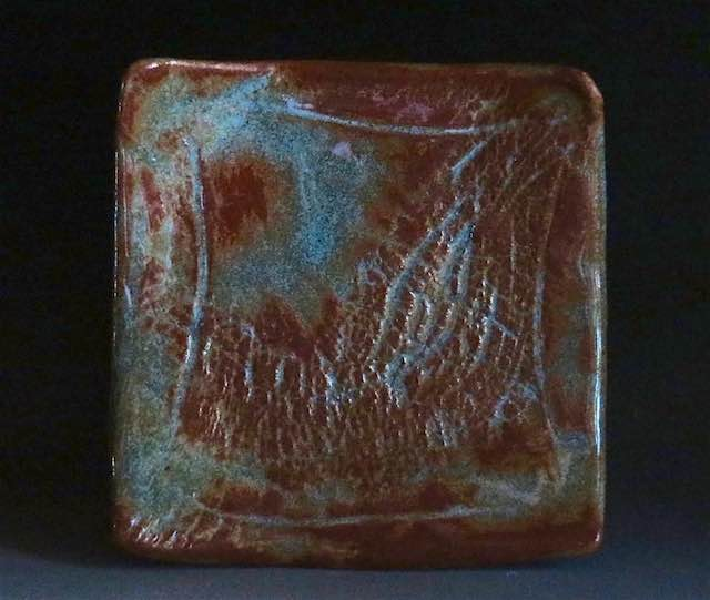 Square Plate with Textured Surface-Blues:Greens:Browns