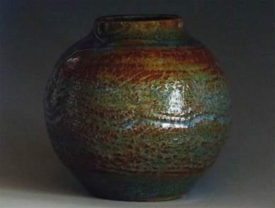 Textured Vase Blues:Greens:Browns