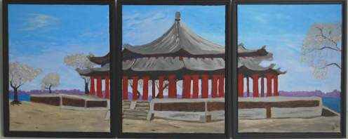 Summer Pavilion, Beijing China, Triptych of three acrylic on canvas paintings each 20x16""